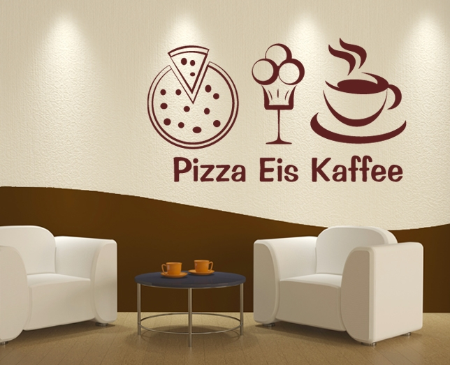 wandtattoo pizza eis cafe. Black Bedroom Furniture Sets. Home Design Ideas