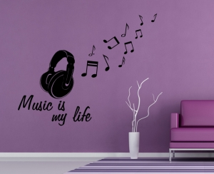 Wandtattoo - Music is my life with headphone