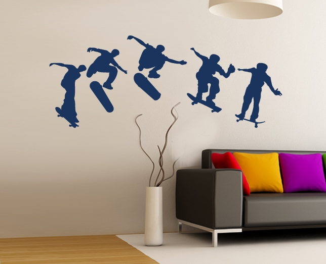 wandtattoo sport skater skateboard jugendzimmer. Black Bedroom Furniture Sets. Home Design Ideas
