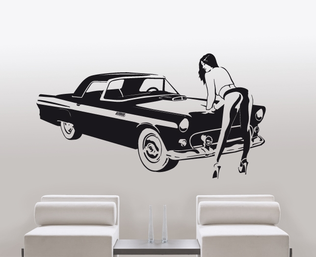 wandtattoo oldtimer auto frau silhouette. Black Bedroom Furniture Sets. Home Design Ideas